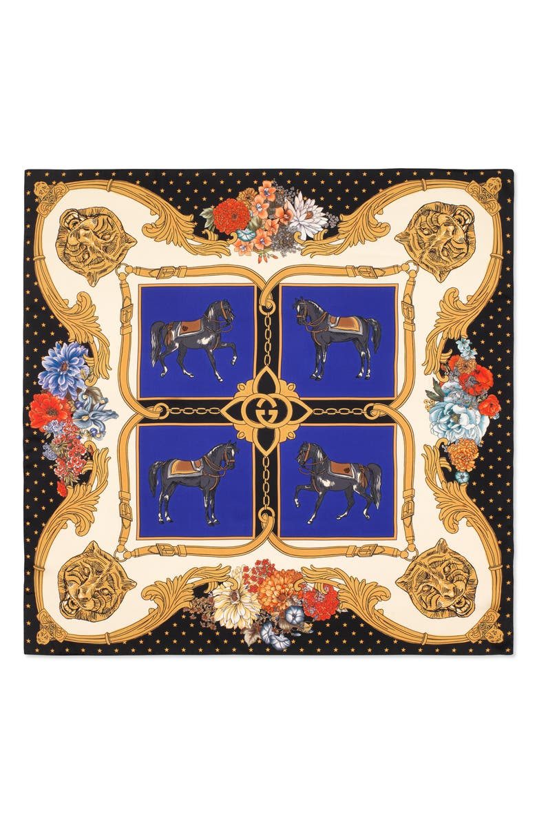 GUCCI Heritage Horses Square Silk Twill Scarf, Main, color, ROYAL/ BLACK