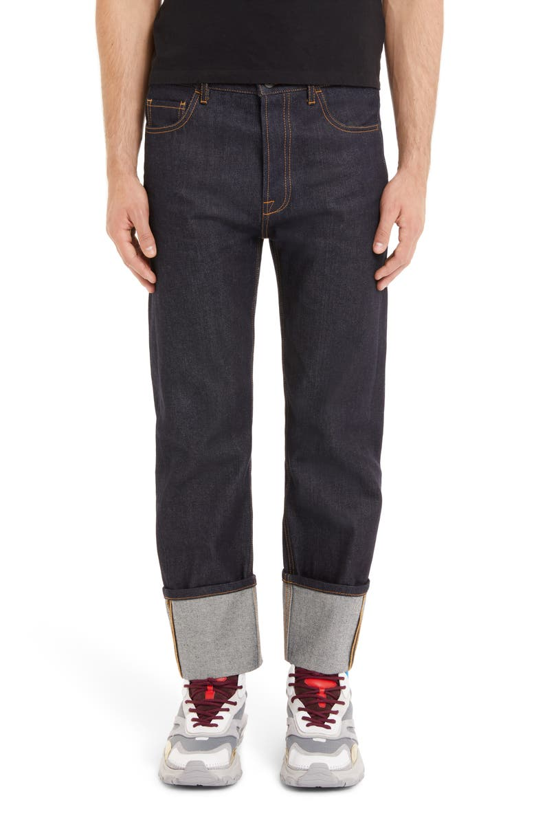 VALENTINO Slim Fit Cuff Jeans, Main, color, NAVY