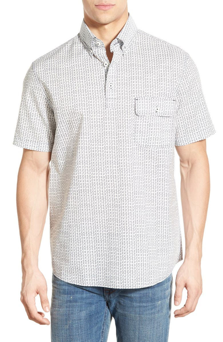 MAKER & COMPANY Tailored Fit Short Sleeve Woven Pullover Shirt, Main, color, 100