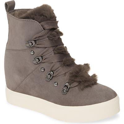 Jslides Whitney Faux Fur Trim High Top Sneaker, Grey