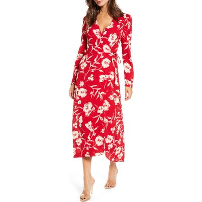 All In Favor Long Sleeve Midi Wrap Dress, Red