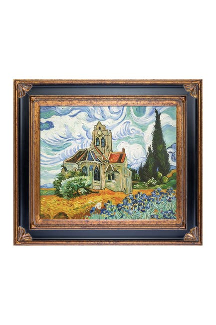 """Image of Overstock Art The Wheat Field Church with Irises with Corinthian Gold Frame - 30"""" x 34"""""""