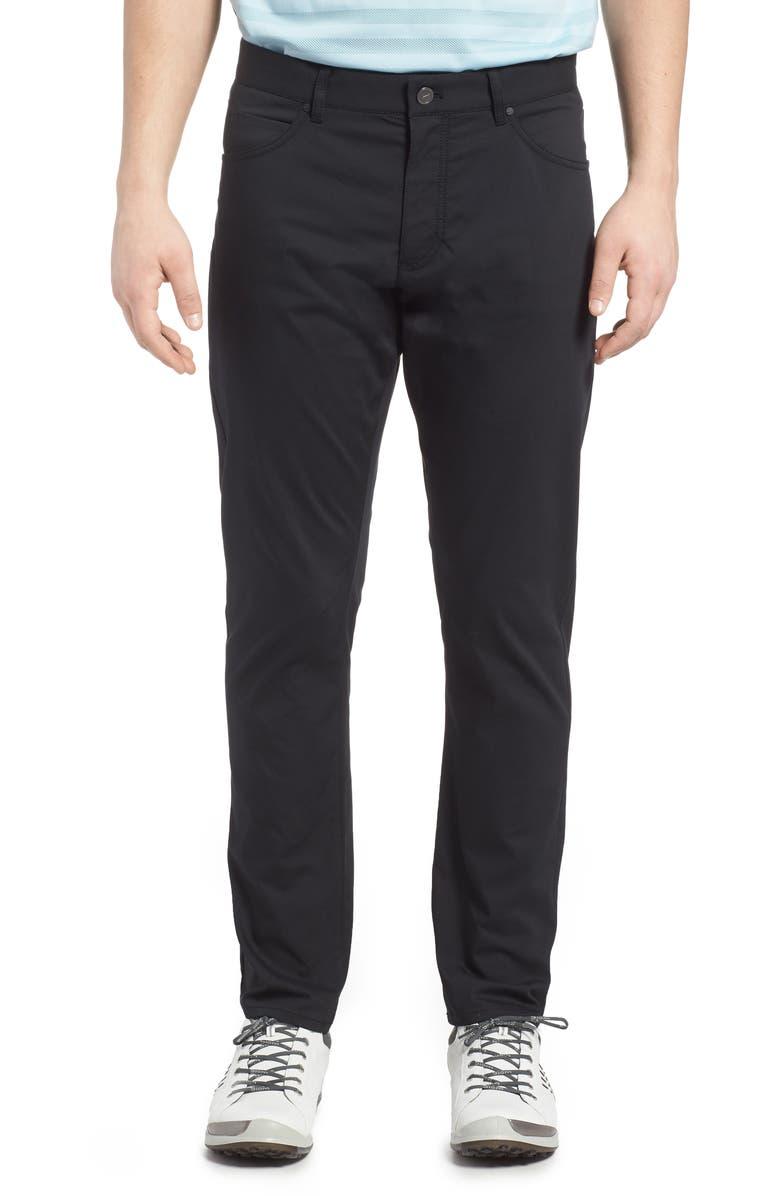 NIKE Flex Slim Fit Dri-FIT Golf Pants, Main, color, BLACK/ WHITE