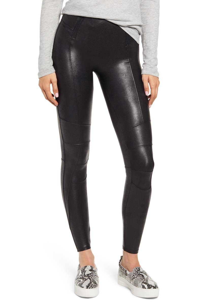 SPANX<SUP>®</SUP> Hip-Zip Faux Leather Leggings, Main, color, 001