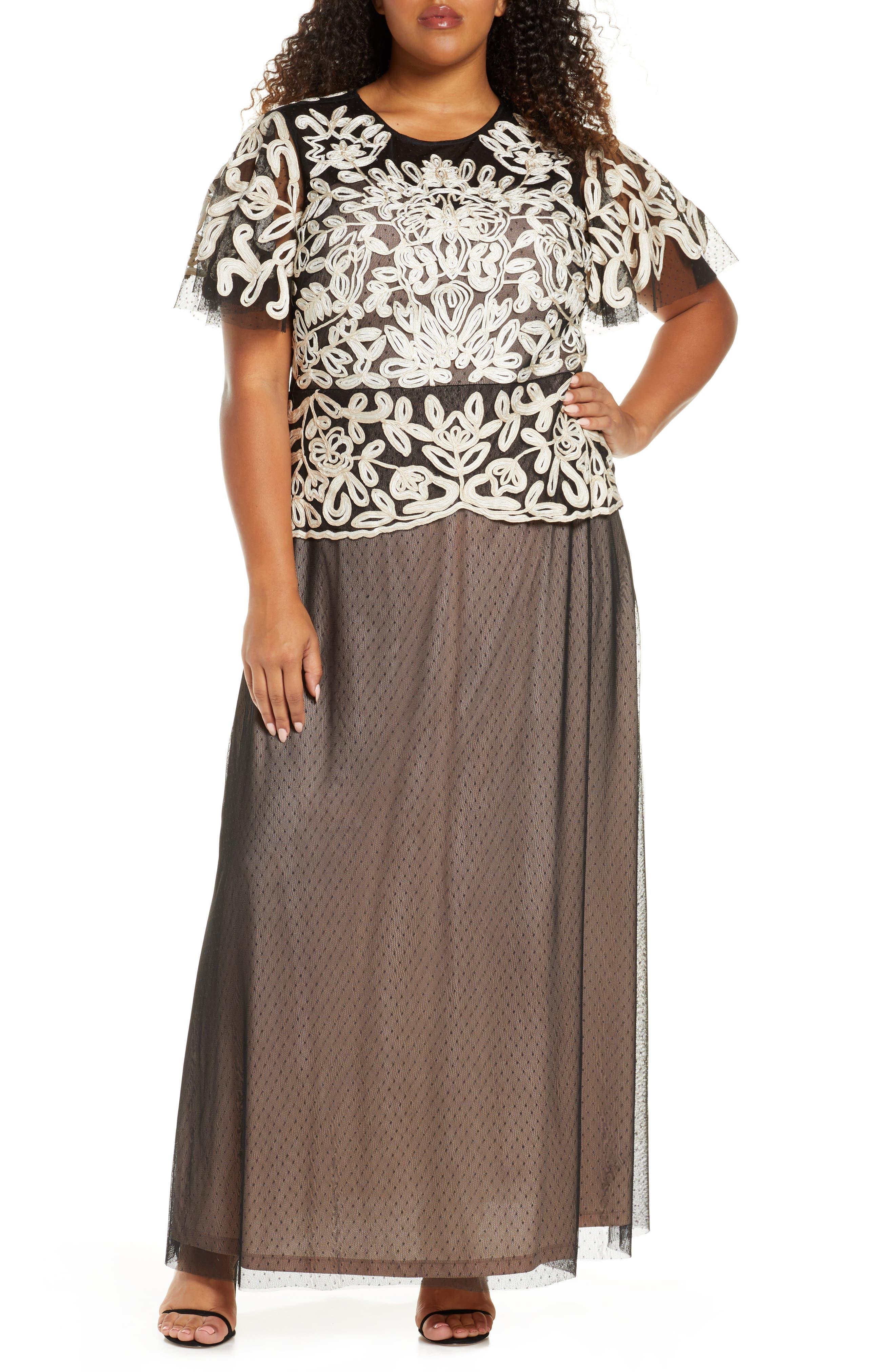 Victorian Plus Size Dresses | Edwardian Clothing, Costumes Plus Size Womens Js Collections Soutache Bodice Tulle Gown $268.00 AT vintagedancer.com