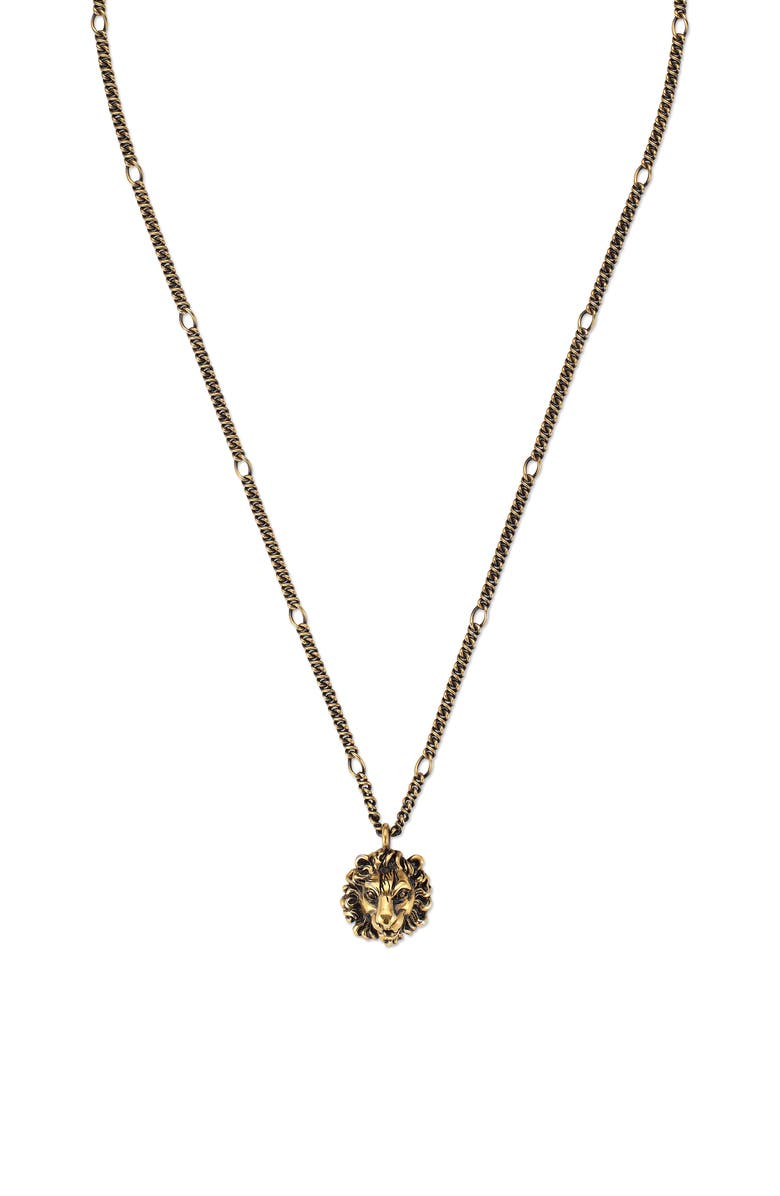 GUCCI Lion Head Pendant Necklace, Main, color, 710