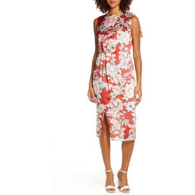 Charles Henry Floral Print Front Slit Dress, Orange