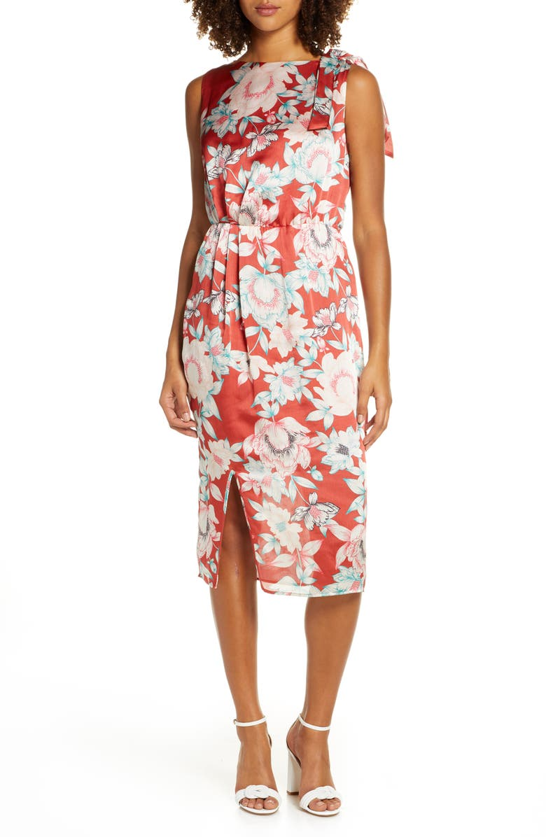 CHARLES HENRY Floral Print Front Slit Dress, Main, color, RUST FLORAL