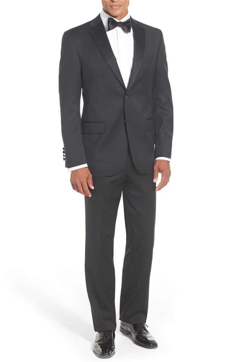 DAVID DONAHUE Classic Fit LoroPianaWool Notch Lapel Tuxedo, Main, color, BLACK
