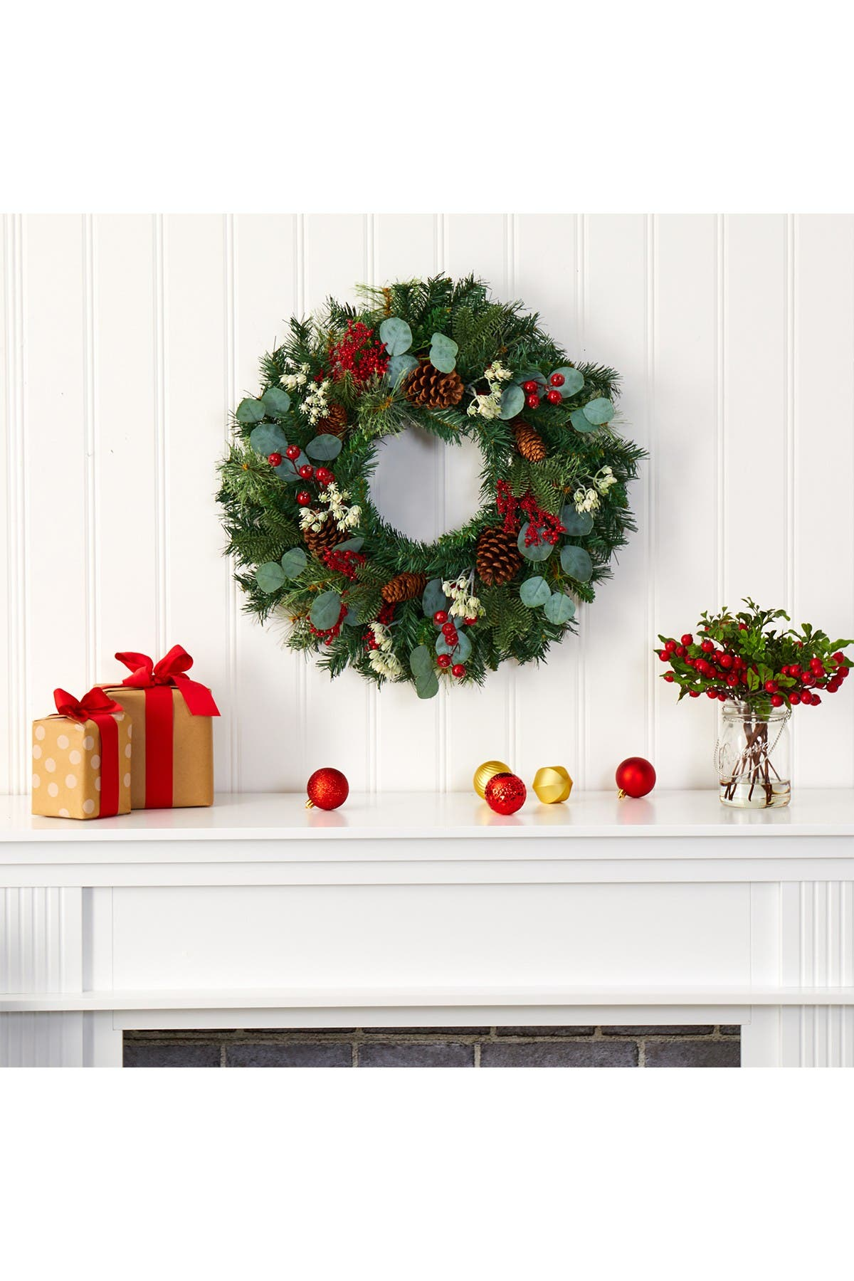 """Image of NEARLY NATURAL 24"""" Eucalyptus & Pine Artificial Wreath"""