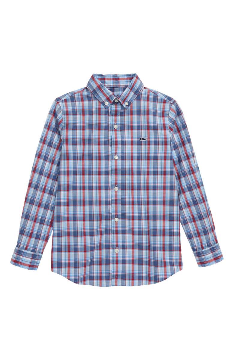 VINEYARD VINES Williams Plaid Whale Button-Down Shirt, Main, color, MOONSHINE