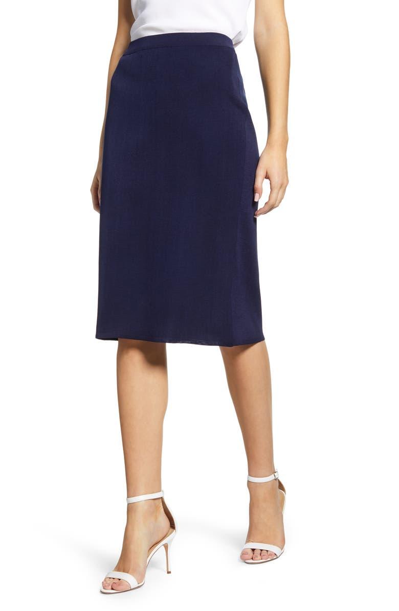 MING WANG Pencil Skirt, Main, color, INDIGO