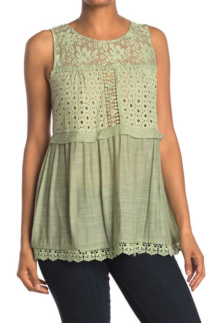 Image of Forgotten Grace Eyelet Lace Peplum Tank Top
