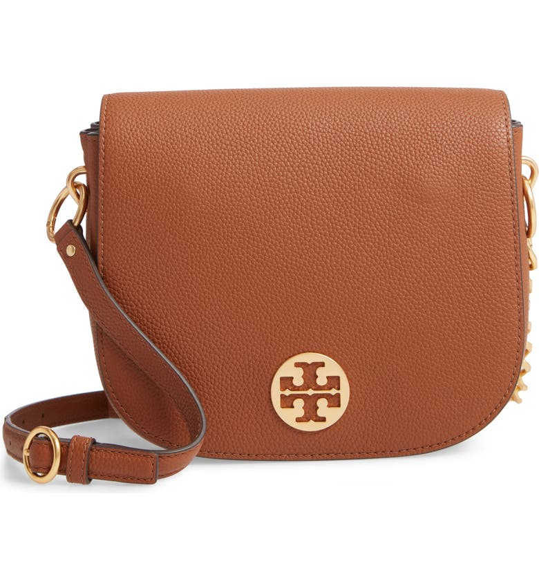 TORY BURCH Everly Leather Flap Saddle Bag, Main, color, LIGHT UMBER