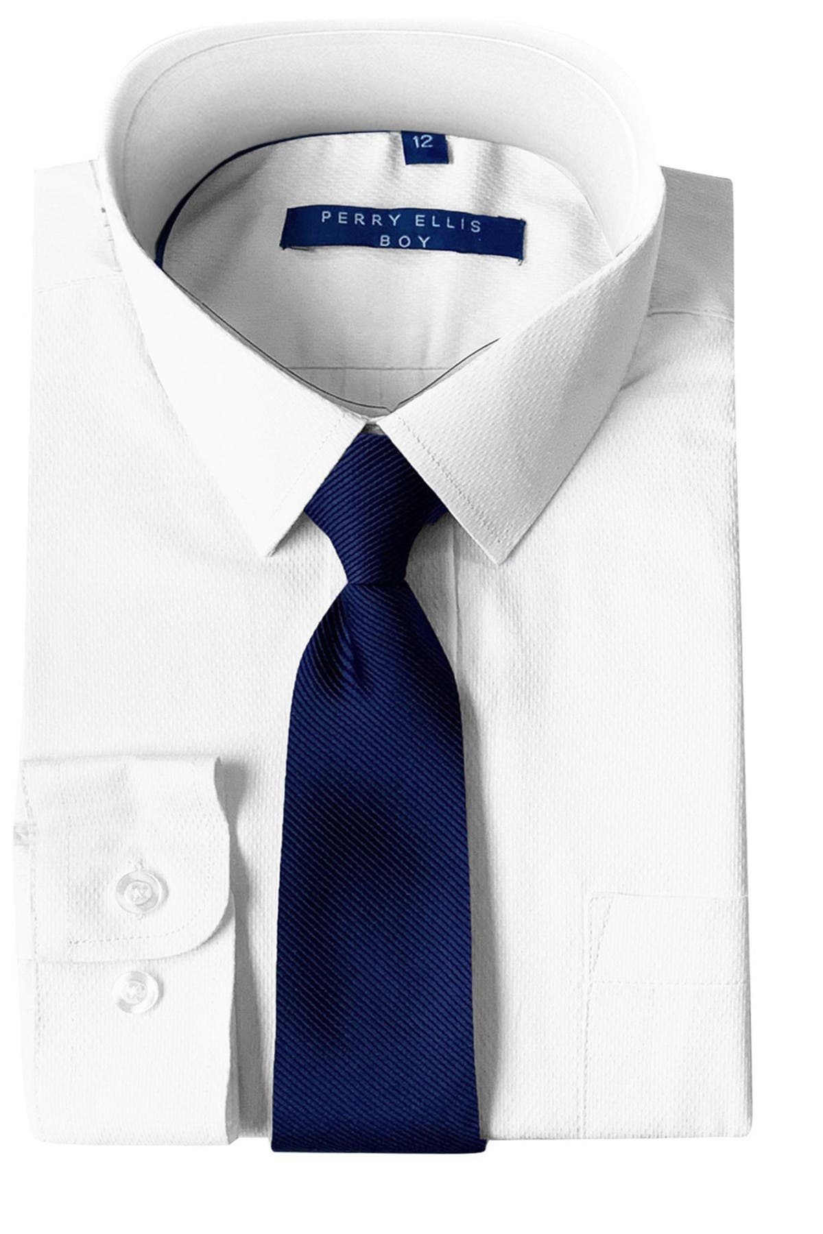 Image of Perry Ellis Solid Dress Shirt & Diagonal Tie Set