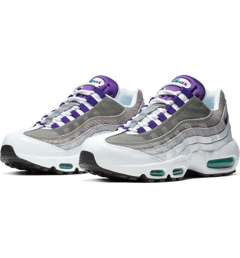 NIKE Air Max 95 LV8 Sneaker, Main, color, WHITE/ COURT PURPLE/ GREEN