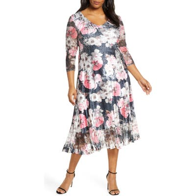 Plus Size Komarov Floral Charmeuse & Chiffon Dress, Black