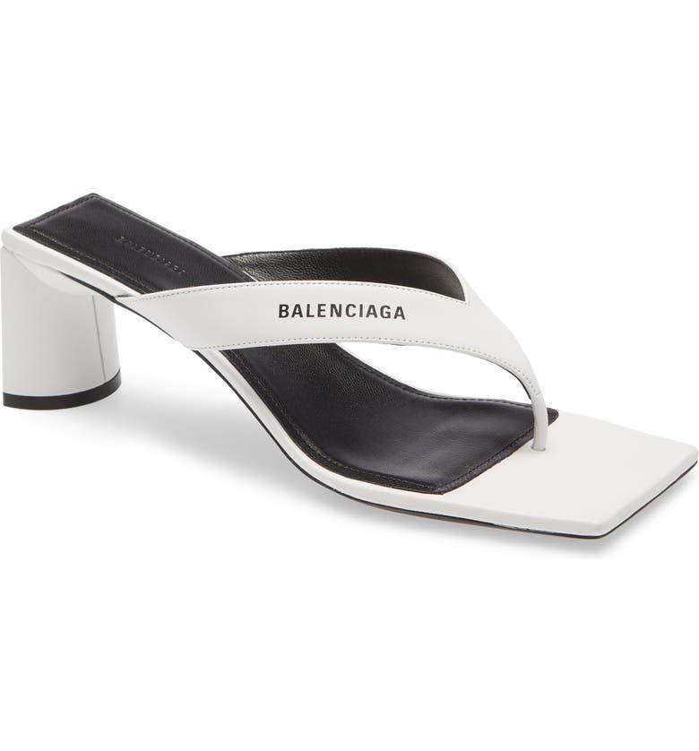 BALENCIAGA Square Toe Thong Sandal, Main, color, WHITE/ BLACK