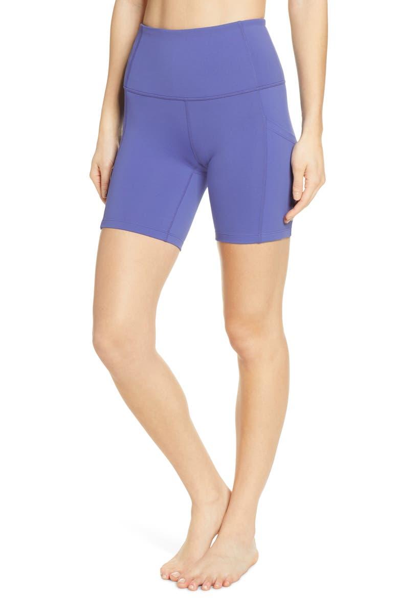ZELLA Live In High Waist Pocket Bike Shorts, Main, color, BLUE MARLIN