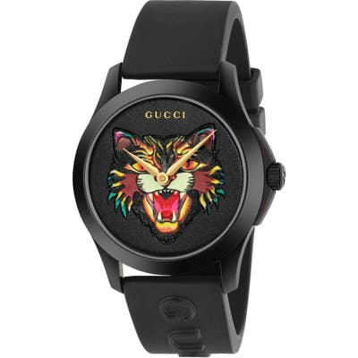 Gucci Angry Cat Rubber Strap Watch,