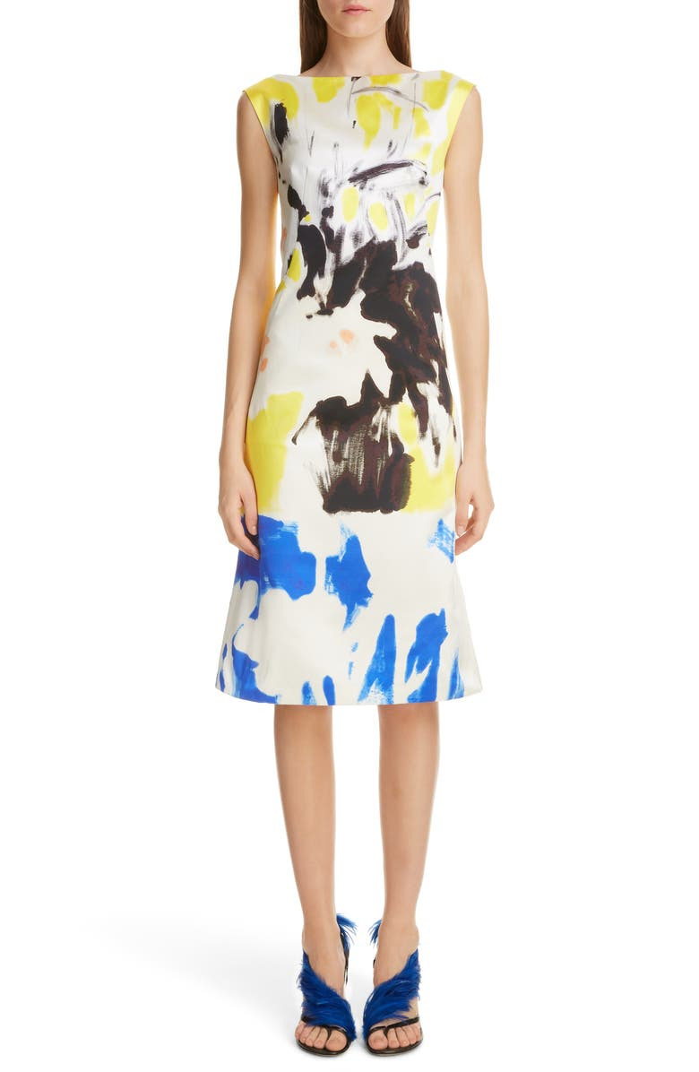 DRIES VAN NOTEN Donar Hand Printed Cotton & Silk Dress, Main, color, 700