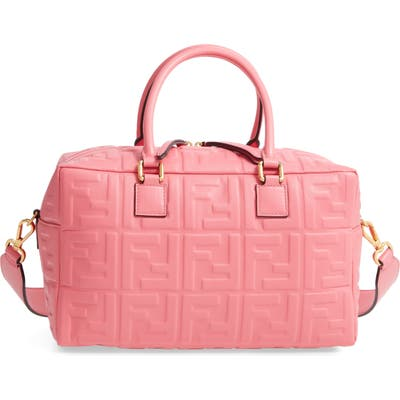 Fendi Boston Logo Embossed Lambskin Leather Satchel - Pink