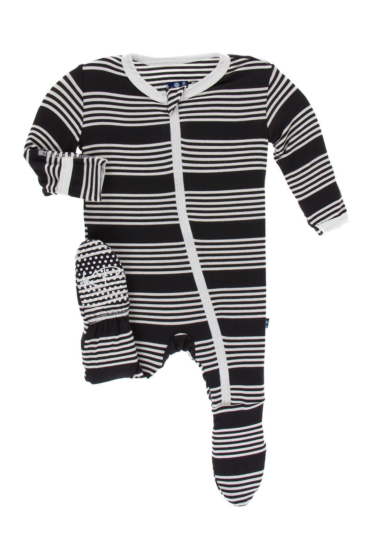 Image of KicKee Pants Print Footie w/ Zipper in Zebra Agriculture Stripe