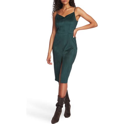 1.state Stretch Microsuede Body-Con Dress, Green
