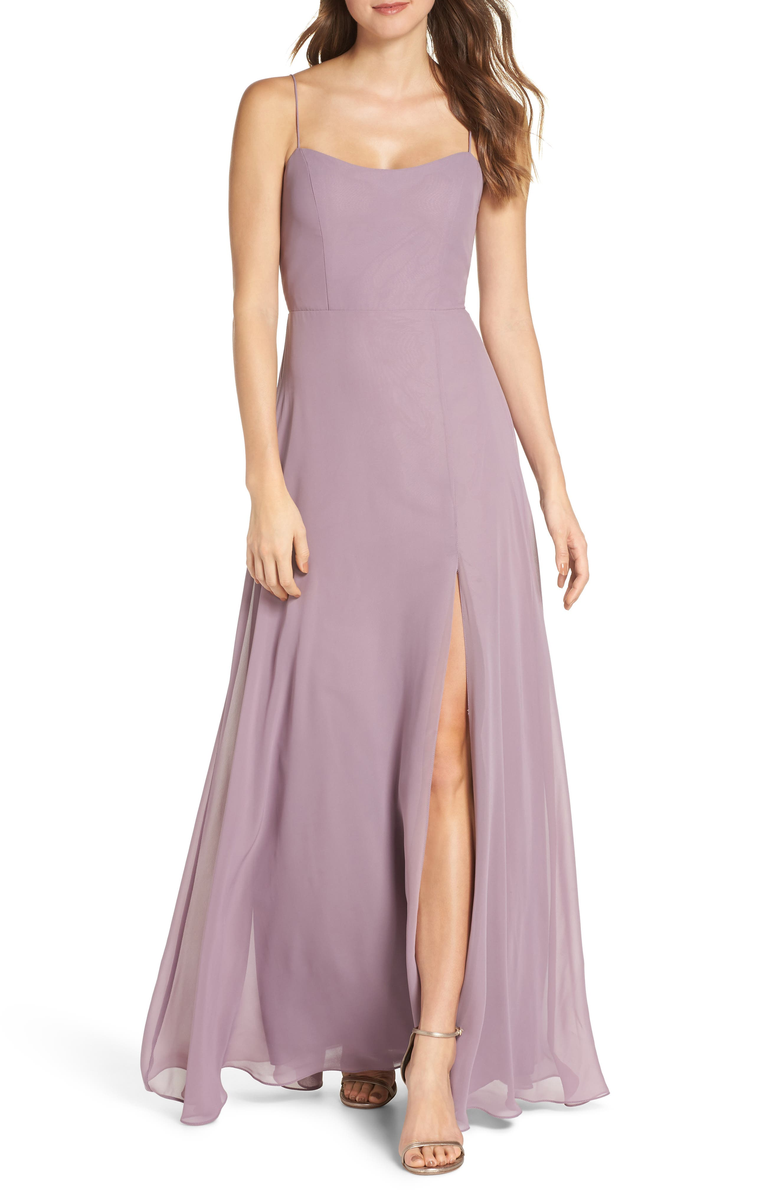 Jenny Yoo Kiara Bow Back Chiffon Evening Dress, Purple