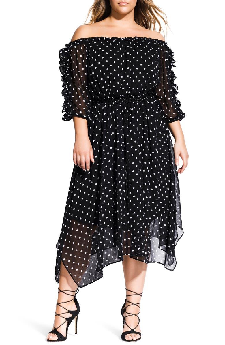 CITY CHIC Off The Shoulder Dress, Main, color, 001