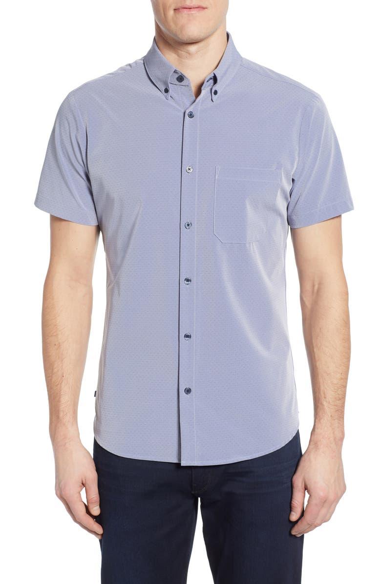 MIZZEN+MAIN Woodman Trim Fit Dobby Shirt, Main, color, BLUE