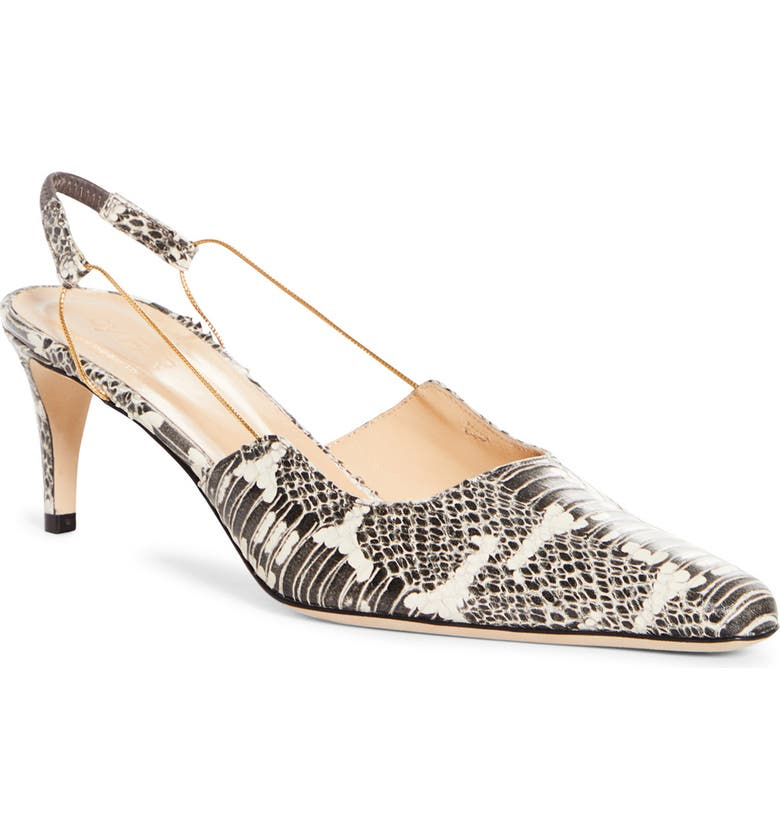 BY FAR Gabriella Snake Embossed Slingback Pump, Main, color, GRAPHIC