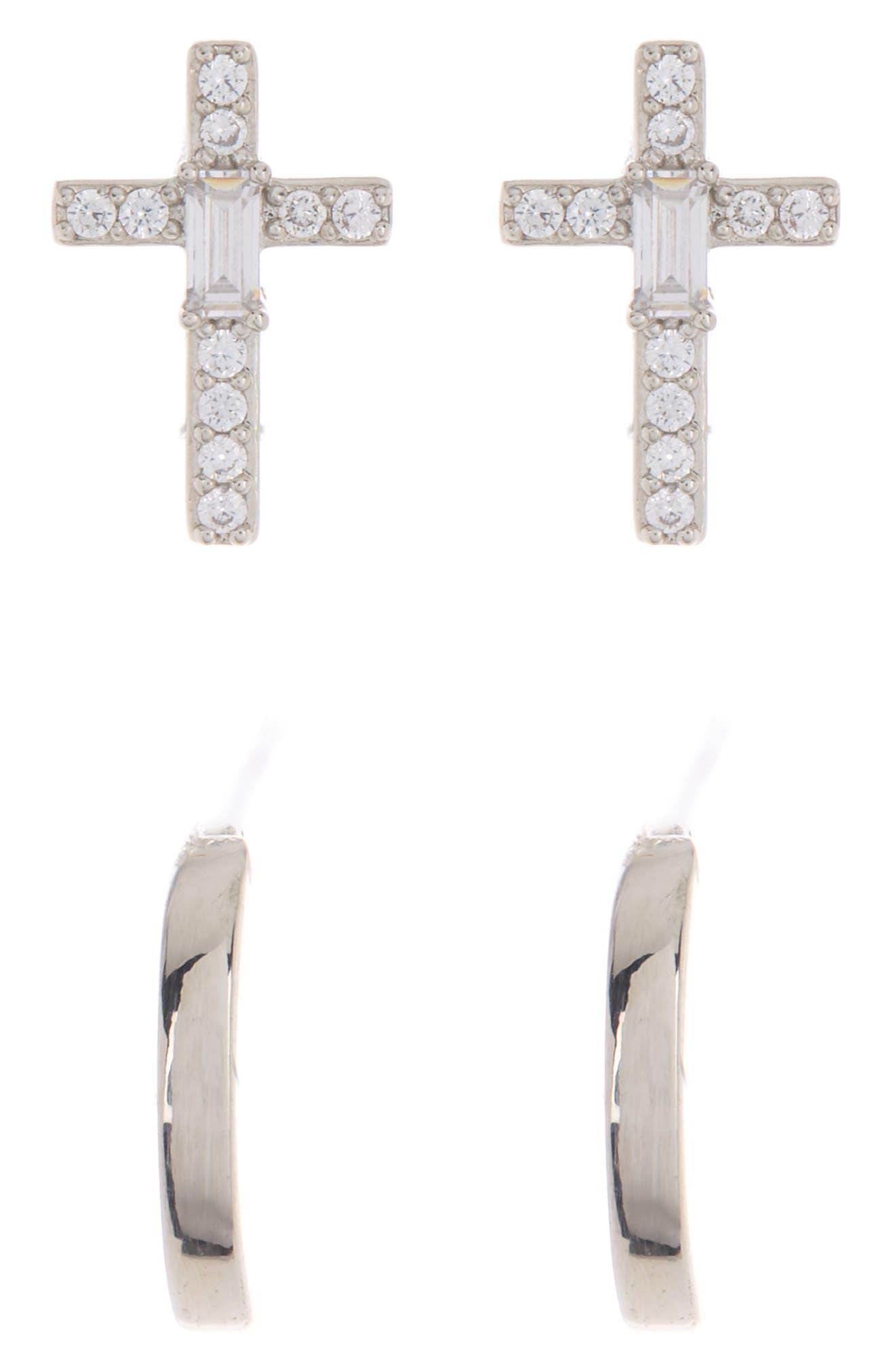 Image of NADRI Adore Cross & Huggie Earrings Set