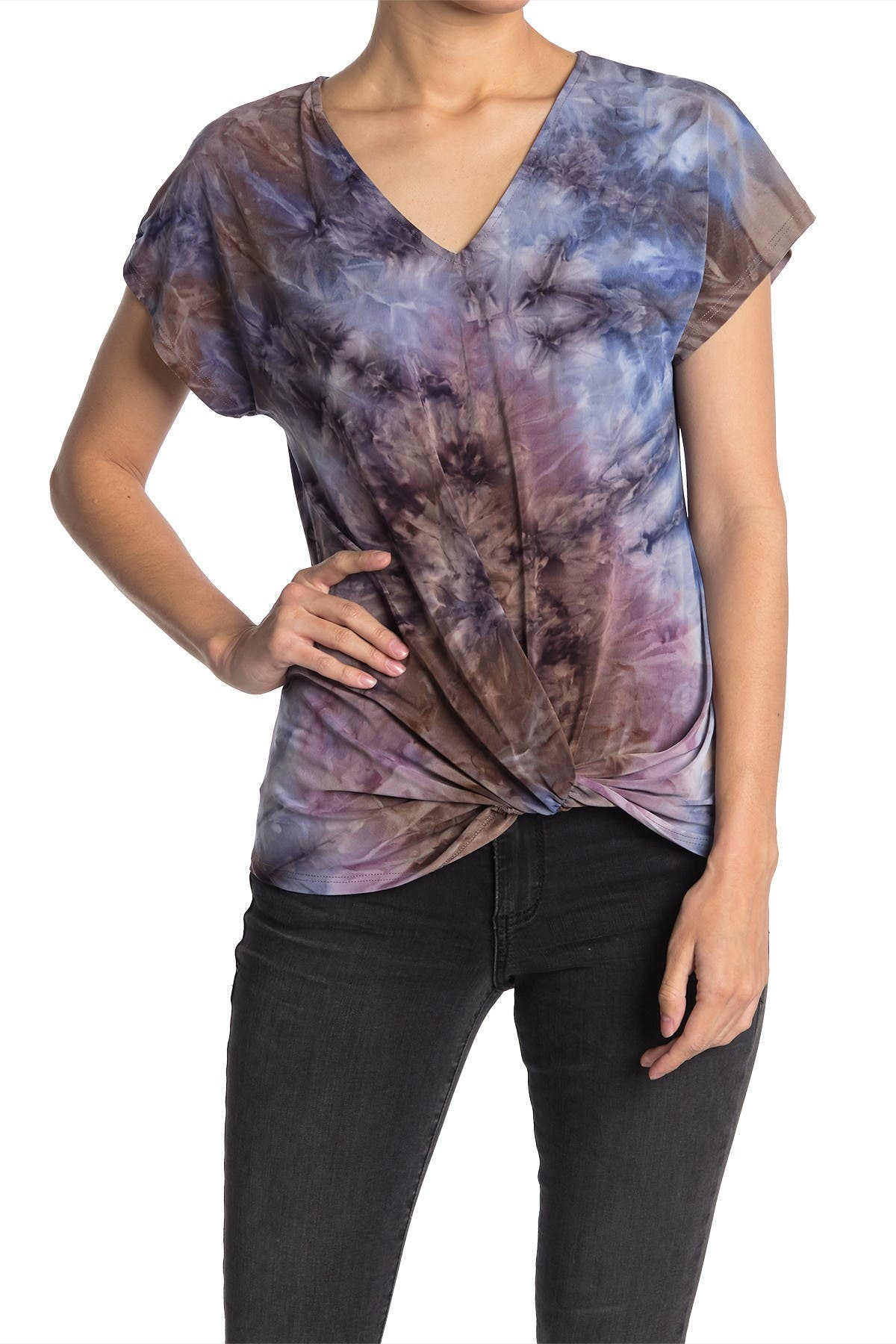 Image of TUA Twist Hem Patterned T-Shirt