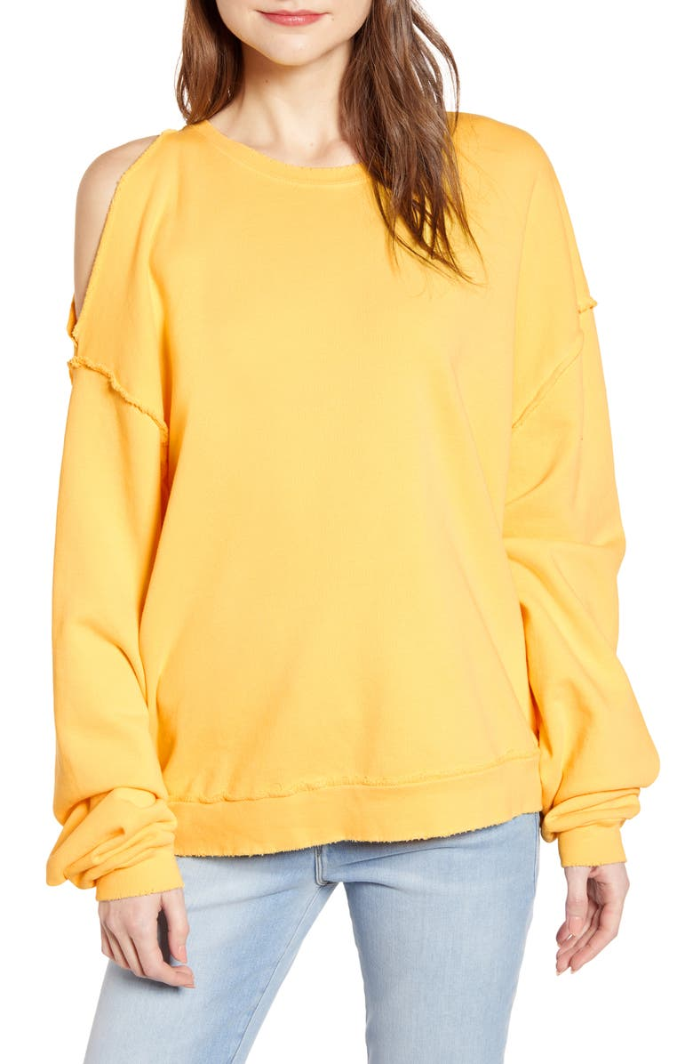 HUDSON JEANS Open Shoulder Sweatshirt, Main, color, 740
