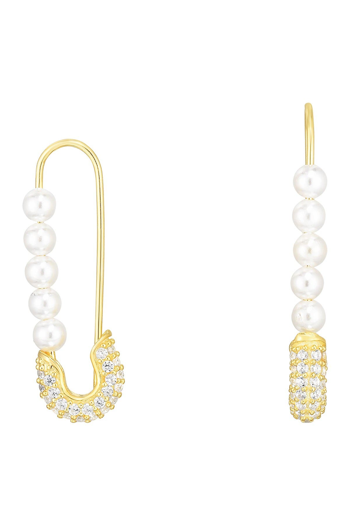 Sphera Milano 14K Yellow Gold Plated Sterling Silver Pave CZ Freshwater Pearl Safety Pin Earrings at Nordstrom Rack