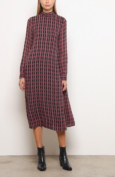 Print Long Sleeve Midi Dress, video thumbnail