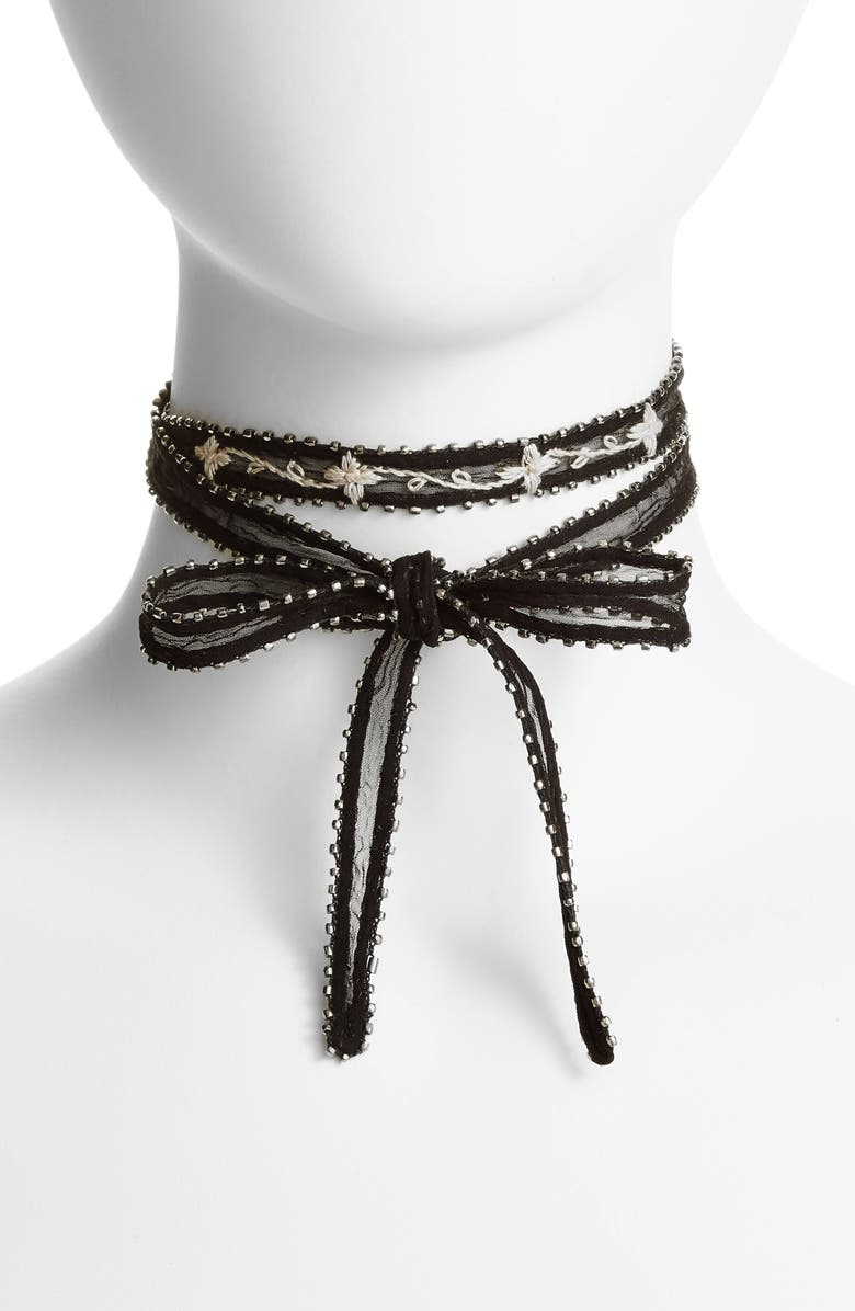 CHAN LUU Chiffon Tie Necklace, Main, color, 001