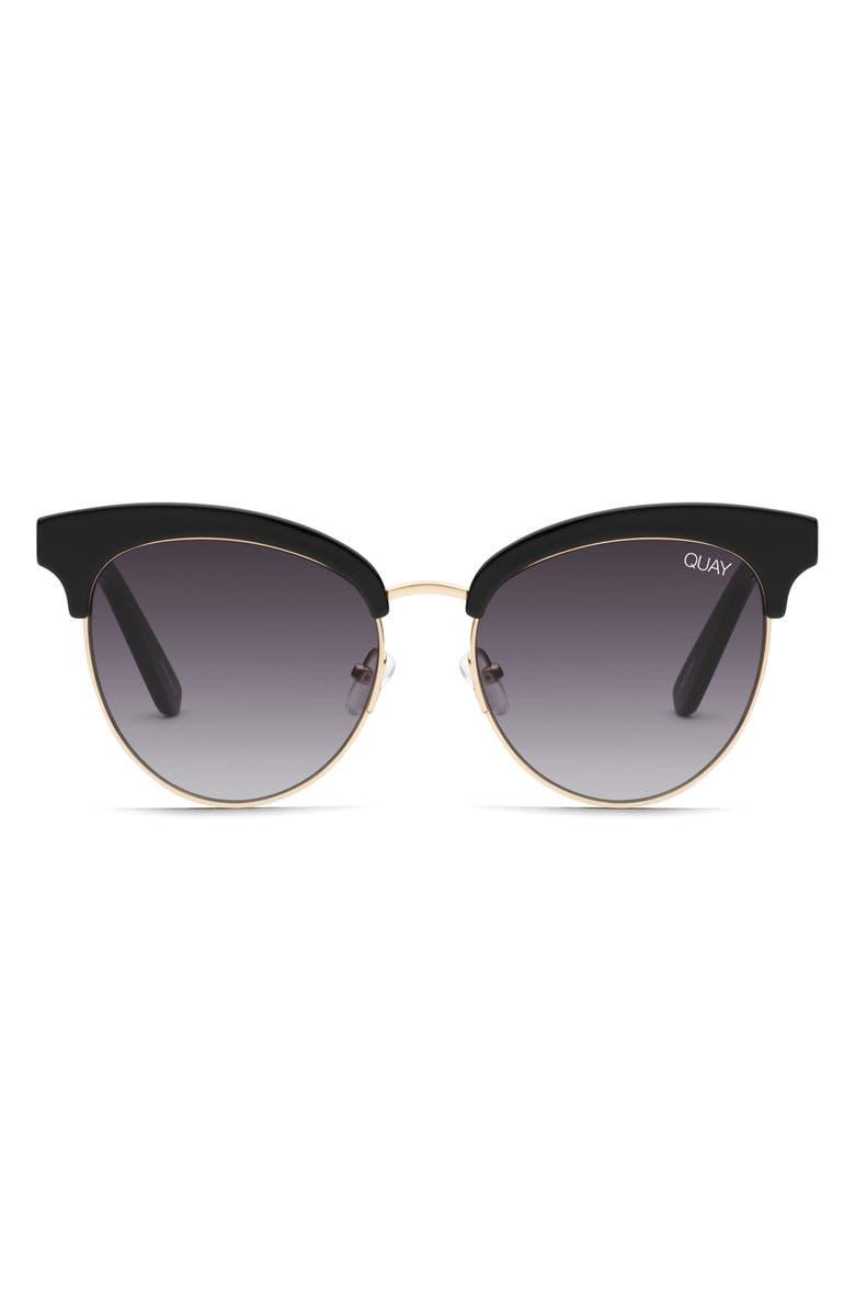 QUAY AUSTRALIA Cherry 56mm Sunglasses, Main, color, BLACK / SMOKE