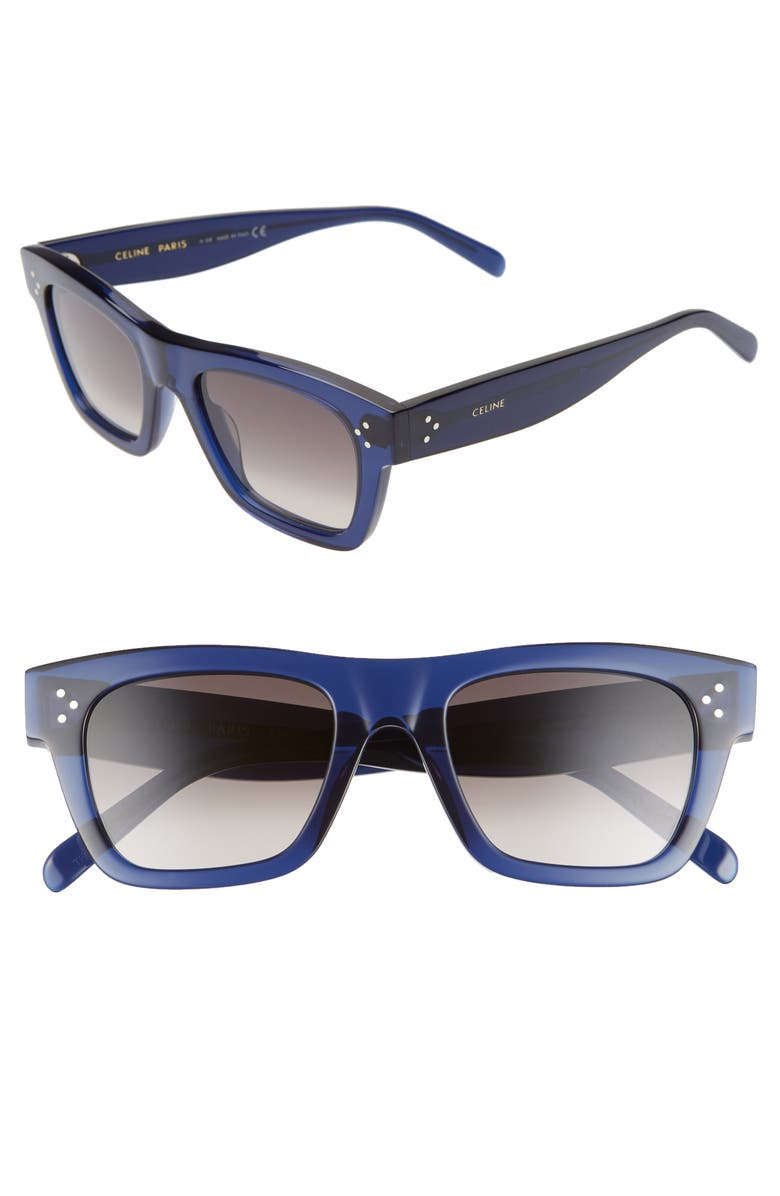 CELINE 51mm Rectangle Sunglasses, Main, color, SHINY BLUE