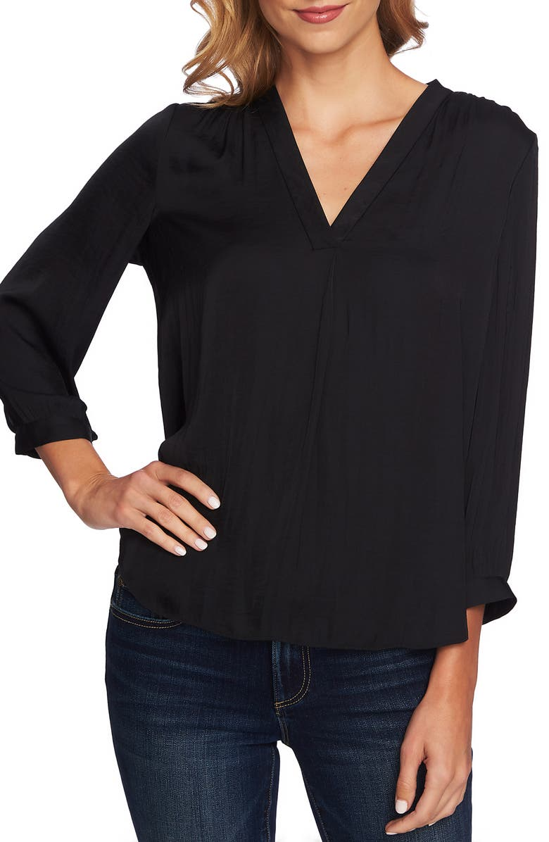 VINCE CAMUTO Rumple Fabric Blouse, Main, color, RICH BLACK