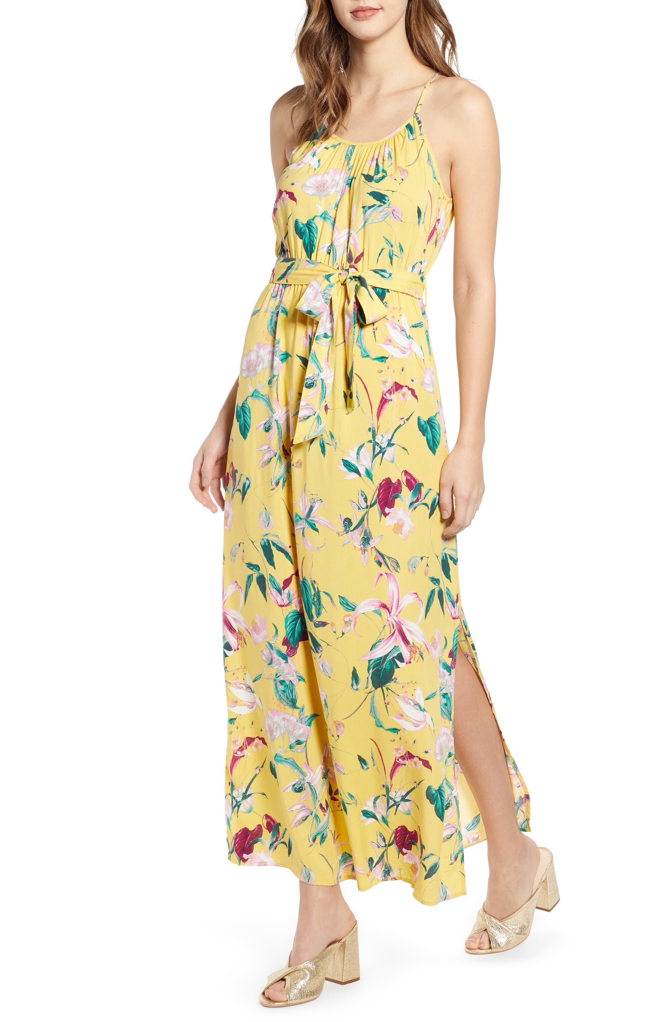 Vero Moda Floral Print Maxi Dress, Yellow