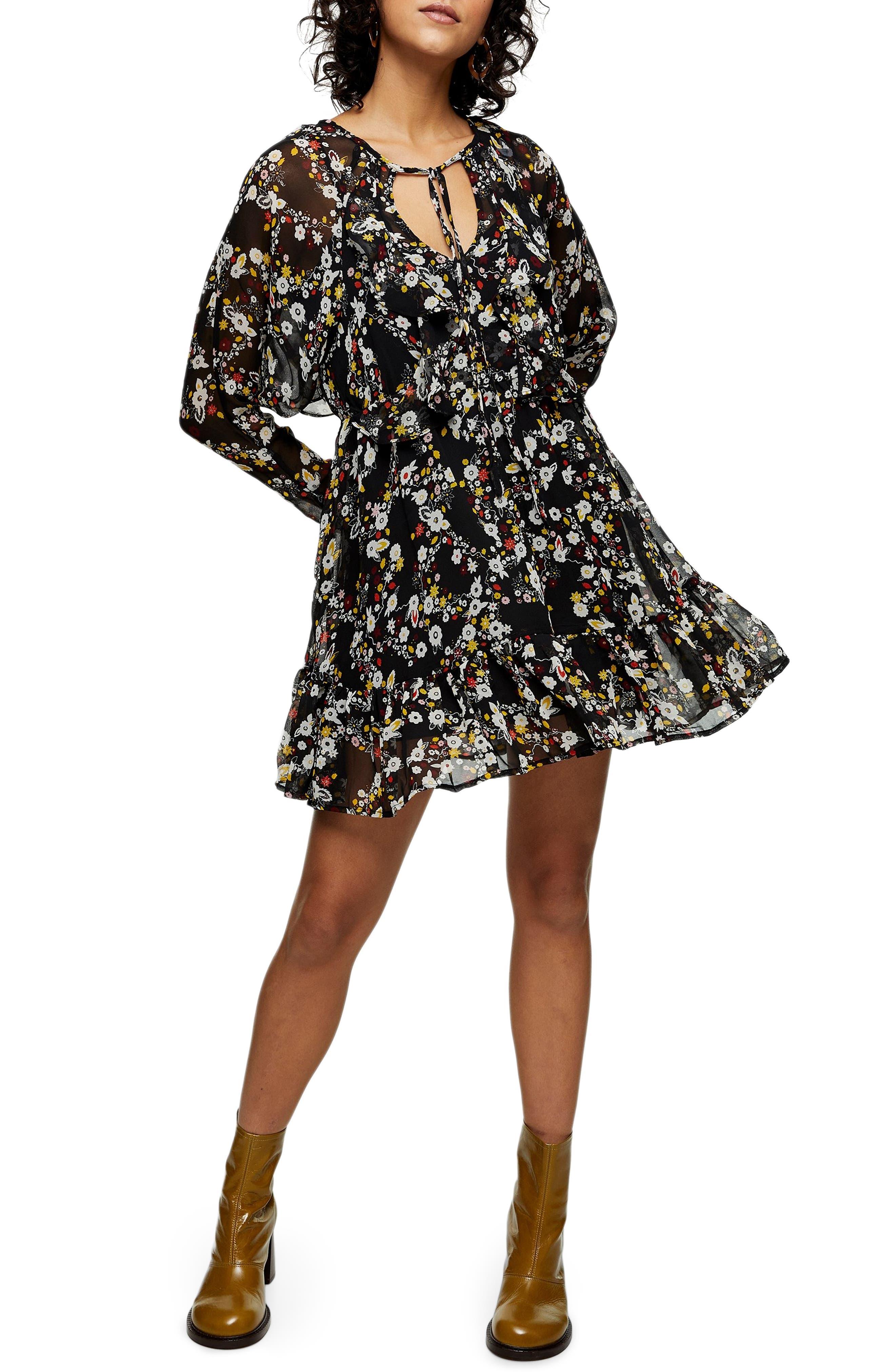 Topshop Flounce V-Neck Long Sleeve Minidress   Nordstrom