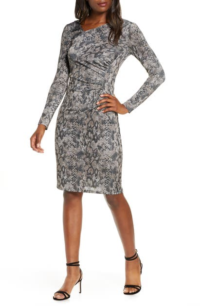 Vince Camuto Dresses ASYMMETRICAL NECK LONG SLEEVE RUCHED DRESS