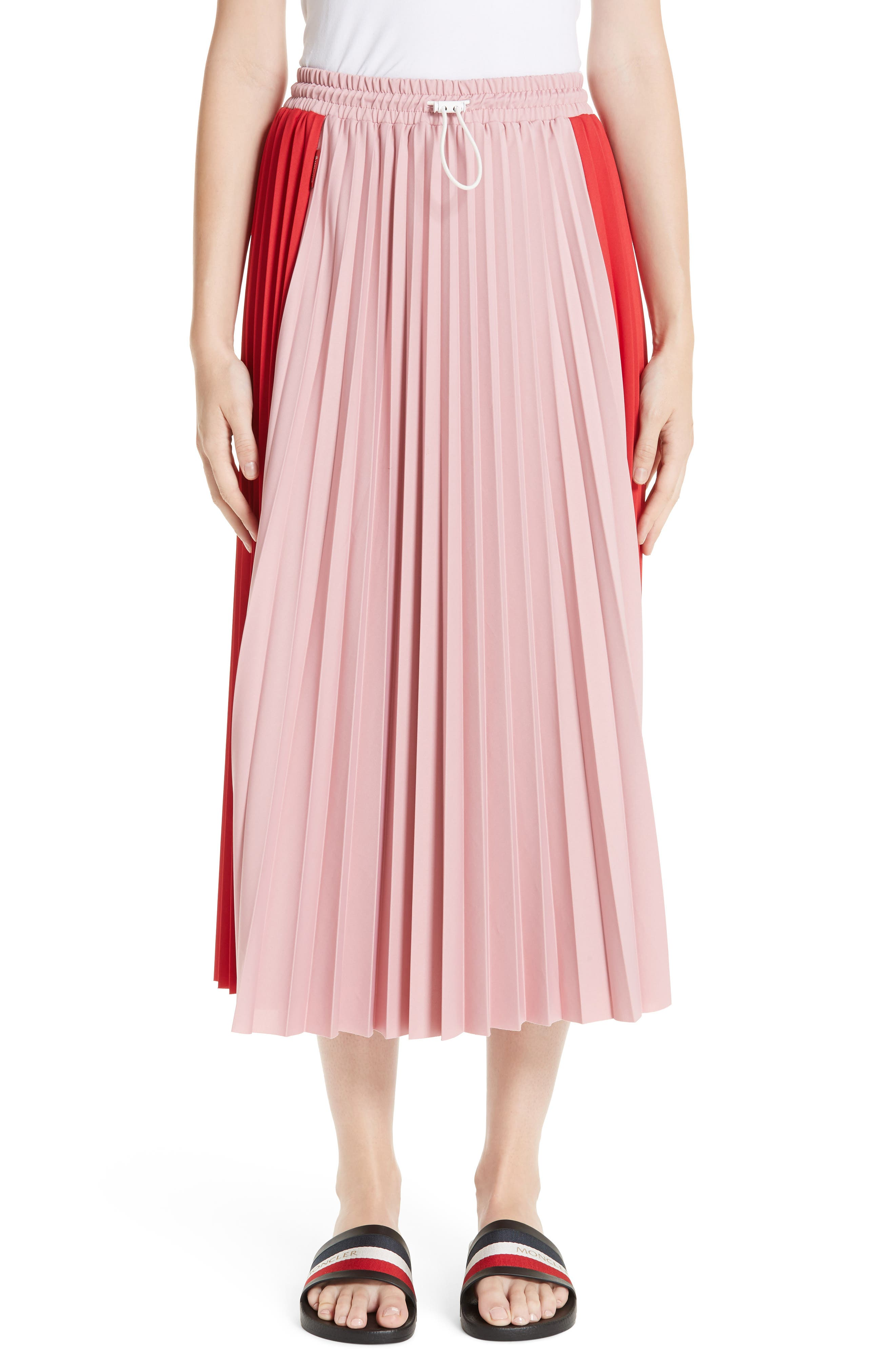 Colorblock Pleated Skirt, Main, color, MEDIUM RED
