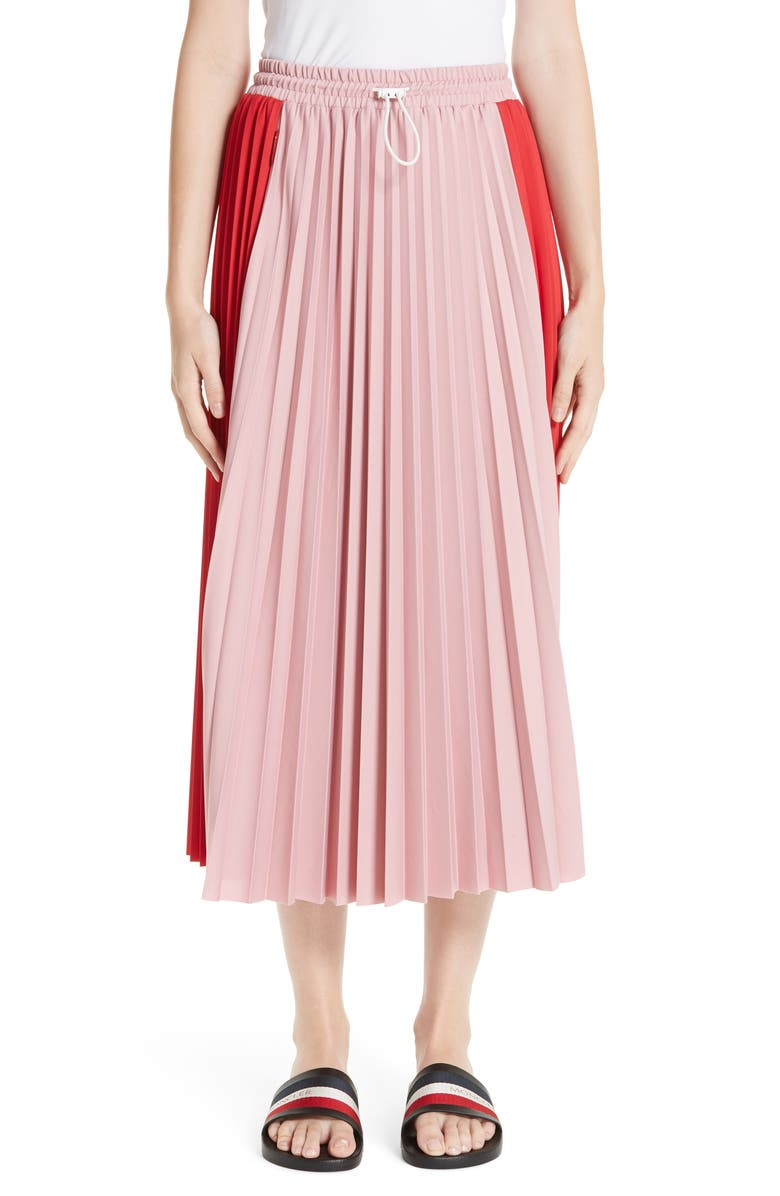 MONCLER Colorblock Pleated Skirt, Main, color, 619