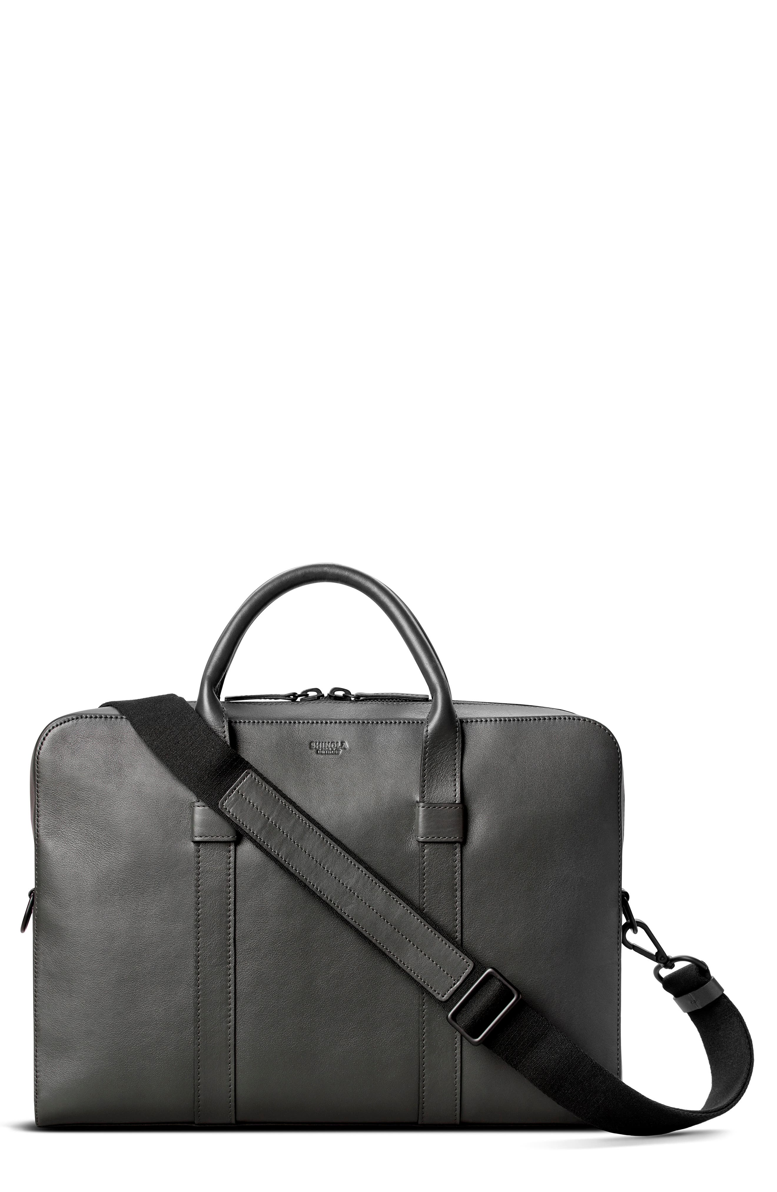 Shinola Slim Leather Computer Briefcase In Asphalt