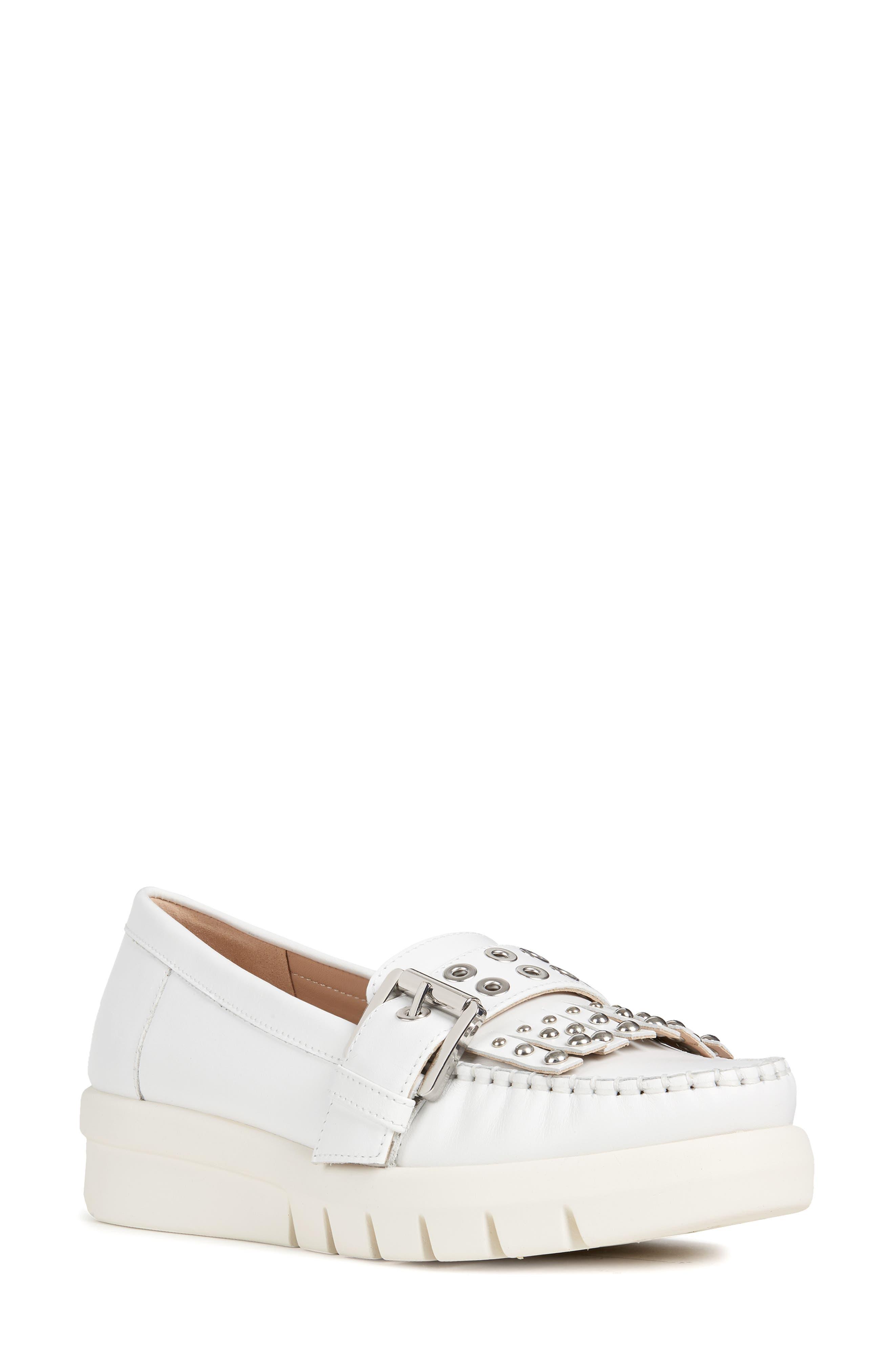 Geox Wimbley Studded Kiltie Loafer, White