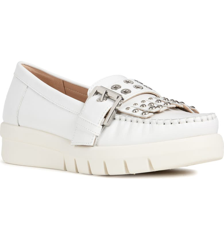 GEOX Wimbley Studded Kiltie Loafer, Main, color, WHITE LEATHER
