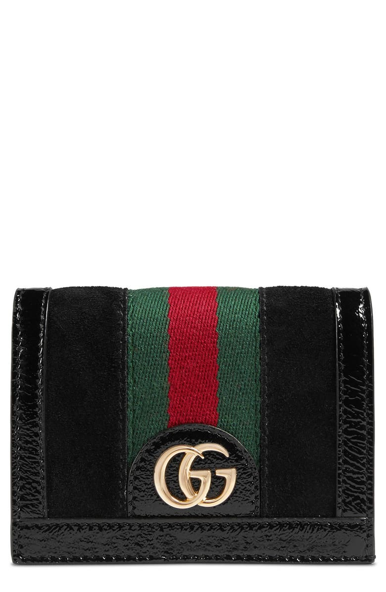 GUCCI Ophidia Suede Card Case, Main, color, 005